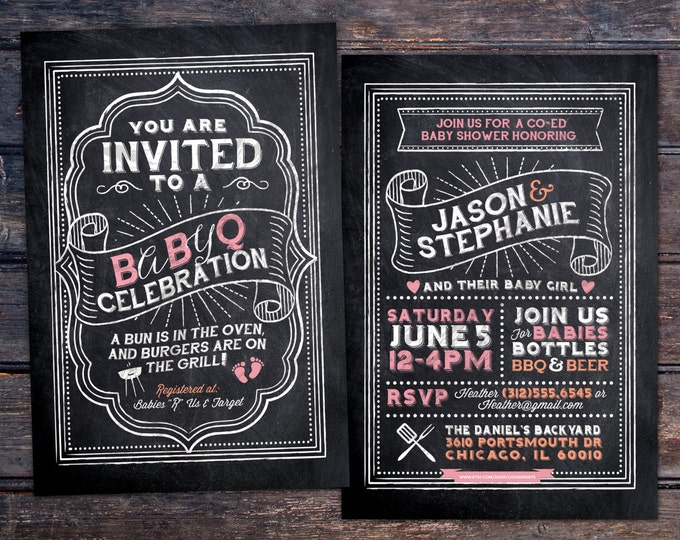 BabyQ chalkboard couples co-ed Baby Shower BBQ invitation - babyq - boy girl gender neutral - baby is brewing, baby boy, baby girl shower