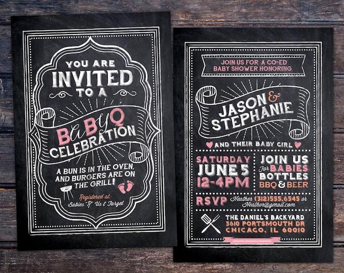 BabyQ chalkboard couples co-ed Baby Shower BBQ invitation - babyq - boy girl gender neutral - baby is brewing, baby boy, baby girl shower