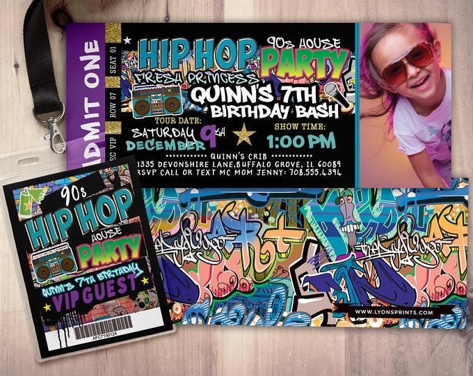 Fresh Prince, Birthday, Baby Shower, Hip Hop, throwback party, 90s,, Vip invitation, invitation, Graffiti, birthday, DJ, 90's party
