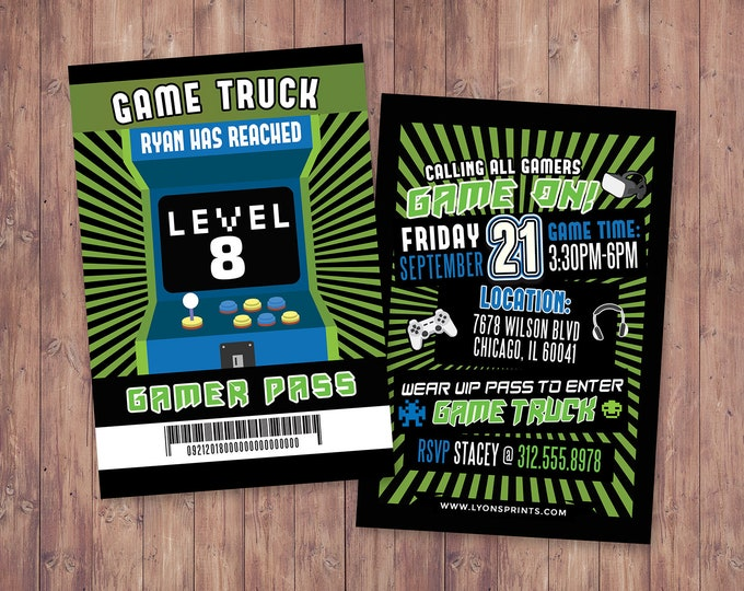 Video Game Invitation | Game Truck Party Invitations | Video Game Party Invitations, Birthday Invitation | Game Truck Invitation, printable