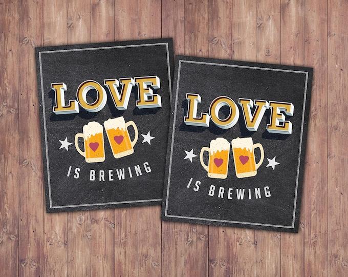 Favor label, sticker, Coed bridal shower- Beer bridal shower- couples bridal shower, Beer and BBQ, love is brewing, sticker, favor label