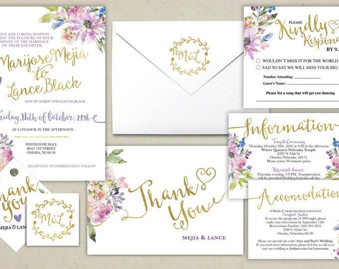 Floral, rustic, BOHO, Wedding Invitation Printable, Kraft,Wedding Invitation Suite, RSVP, monogram, info card, hand lettered typography