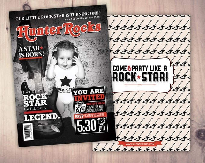 Rock Star magazine theme birthday invitation, boy birthday, rockstar, baby shower, rock star party, rock n roll, pop star, hip hop, guitar