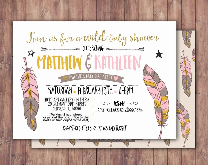 Tribal, Baby Shower Invitation, BOHO Baby shower Invite, feathers , invitation, arrows, pow wow, baby girl, baby boy, couples shower, coed
