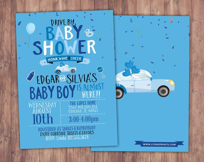 Drive by baby shower parade invitation,  social distancing drive-by party invite, car shower parade, quarantine party, digital file only