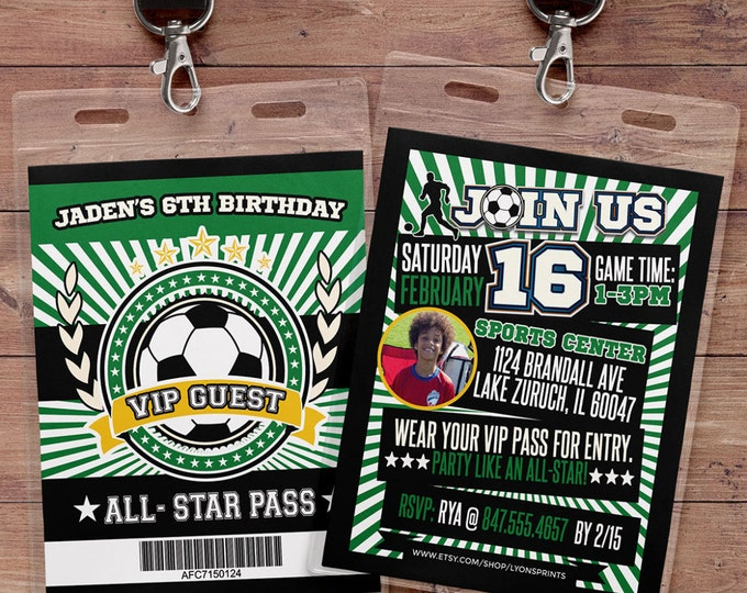 Soccer Invitation // All Star Birthday //  VIP pass, BIRTHDAY invitation, boy birthday, sports birthday, baby shower, soccer birthday