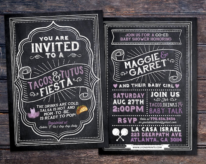 Tacos and Tutus, chalkboard couples co-ed Baby Shower BBQ invitation - babyq - baby is brewing, girl shower, fiesta, Mexican, boy shower