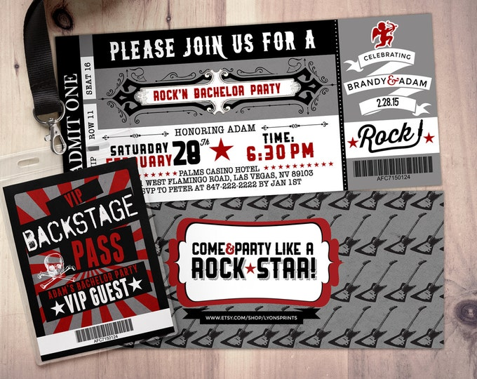 Bachelorette Party Invite/Bachelor Party invitation, ticket bridal shower invitation, rockstar bachelor, save the date, wedding invitation