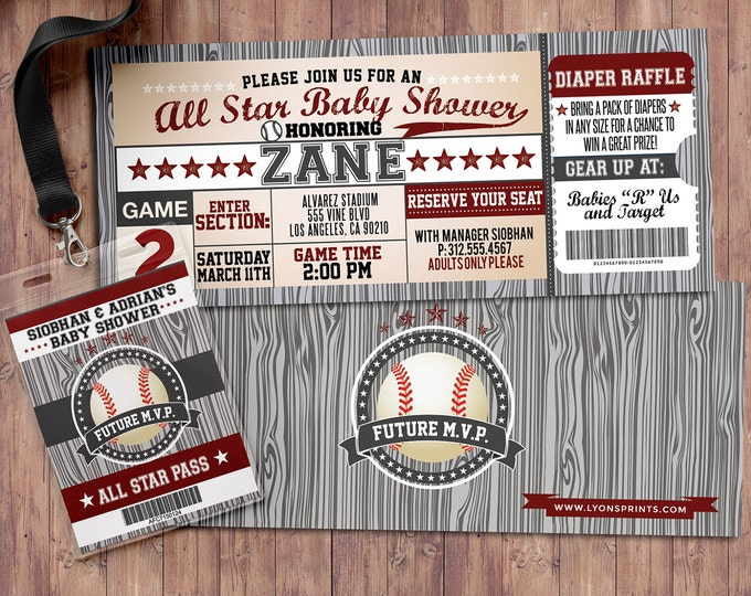 Vintage Baseball Shower Invitation, All Star Little Slugger Baby Shower,  sports invitation, baseball invitation