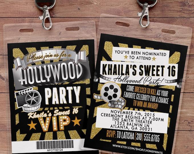 Hollywood Birthday, Sweet 16, VIP PASS, backstage pass, Vip invitation, birthday invitation, pop star,  Rock Star,  glitter