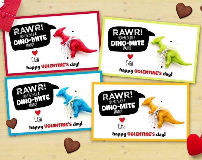 Digital , printable Set of 4 colors, Dinosaur Valentine cards printable - Valentine's Day, children's Valentine's, cards, dino, Valentine,