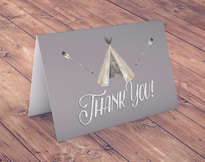 TEEPEE Baby Shower, Thank you card, arrow baby shower, pow wow, BOHO, Tribal, greeting card, BOHO thank you card
