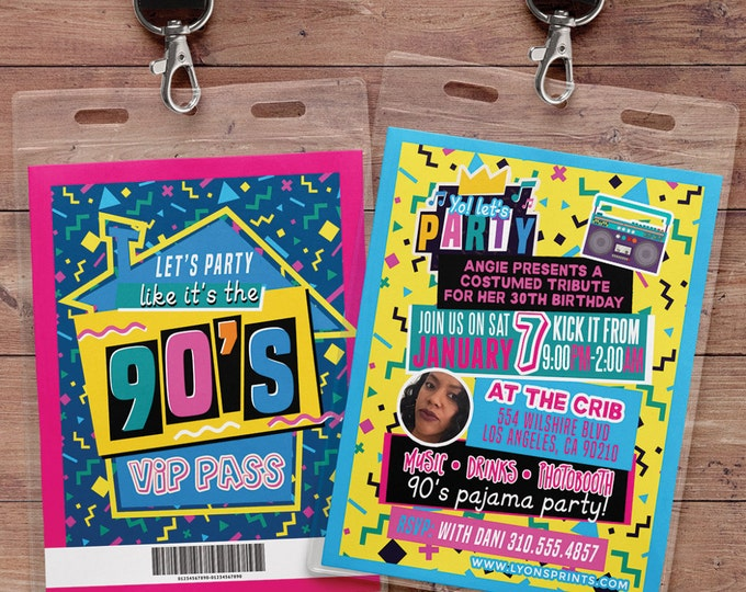 90s party, 80s party,Hip Hop, Swagger, VIP PASS, backstage pass, Vip invitation, birthday invitation, lanyard, birthday, fresh prince