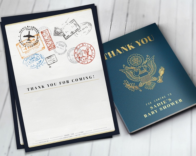 Thank you card, passport, travel theme, travel party, Digital file only, Graduation, baby shower, birthday, wedding