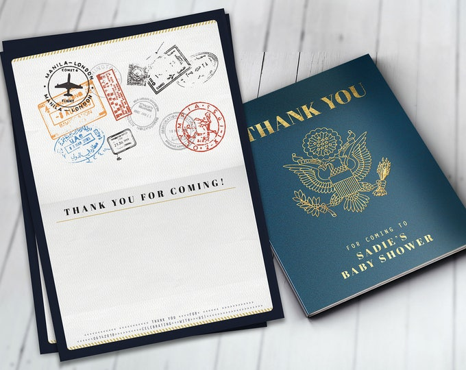 Thank you card, passport, travel theme, travel party, Digital file only, Graduation, baby shower, birthday, wedding, business thank you