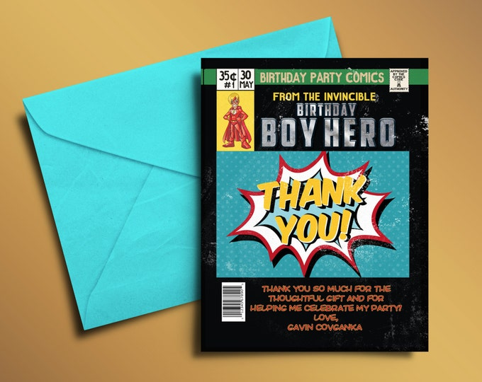 Super Hero Birthday Invitations, Super Hero thank you card,  Hero Invitation, Super Hero Party, Comic Invitation, Invite, thank you, comic