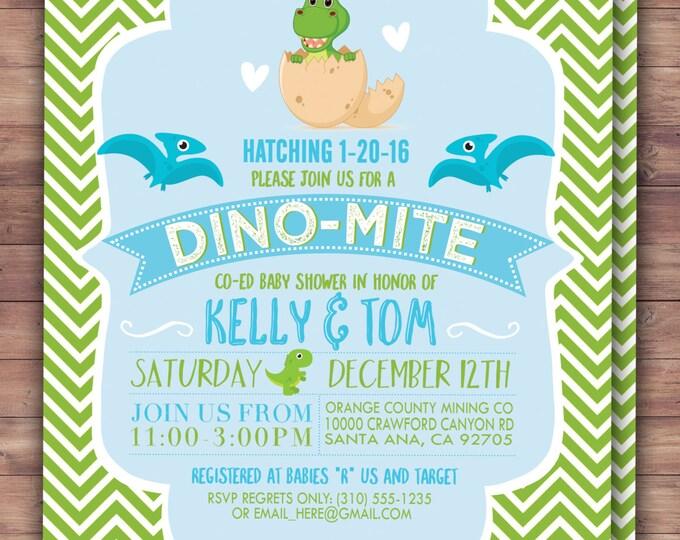 Dinosaur, baby shower, invitation, dino baby, chevron pattern, hatching, party decor,  baby shower decor, baby dinosaur, coed baby shower