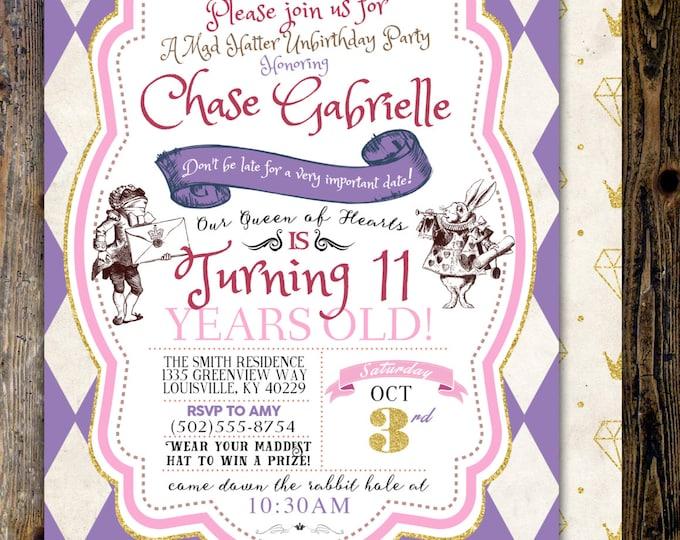 Mad Hatter Tea Party, Alice in Wonderland Invitation / girl Birthday Invitation / Printable for Birthday or Wedding / coed  Baby Shower,