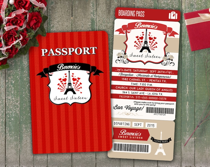 PASSPORT and TICKET invitation! Girl birthday party invitation- travel birthday party invitation- Paris, prom, sweet 16, Digital files only