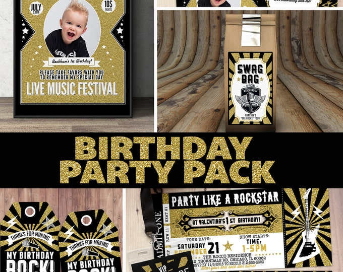 Pop star, Rock Star concert ticket birthday party invitation- Music invitation- printable, rockstar party, pop star,  pop star party