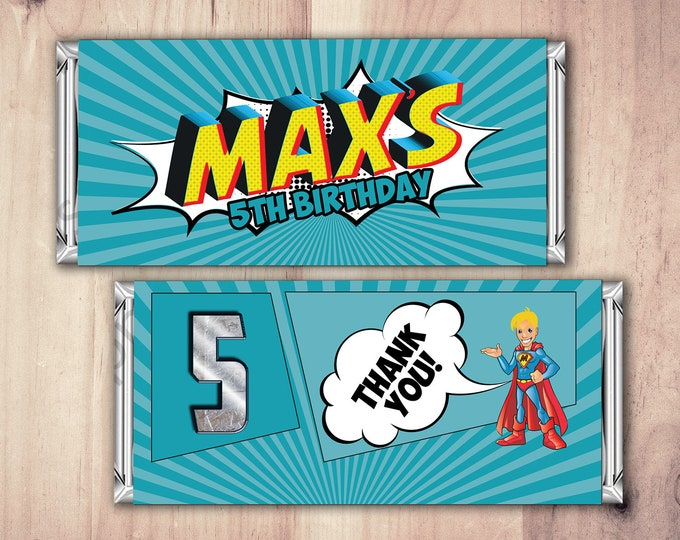 Comic Candy Bar Wrapper, Birthday favor, Chocolate Bar, Birthday Candy Wrappers, favor, comic party, comic candy, super hero