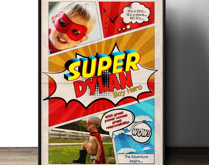 Custom comic poster, party sign, super hero, comic birthday, gift, playroom, game room, wall art, retro wall art, personalized sign, poster