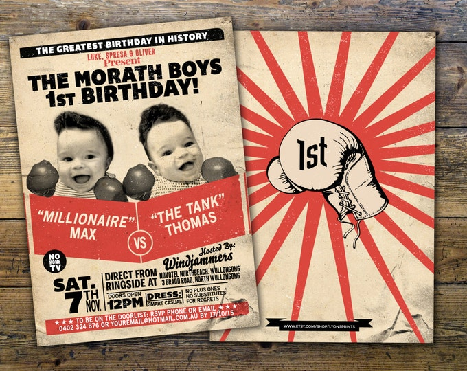 Twins birthday,Retro, vintage boxing, birthday invitation, boxing, men's birthday, 21st, 30th, 40th, 50th, 60th, boy's birthday,twins, boy