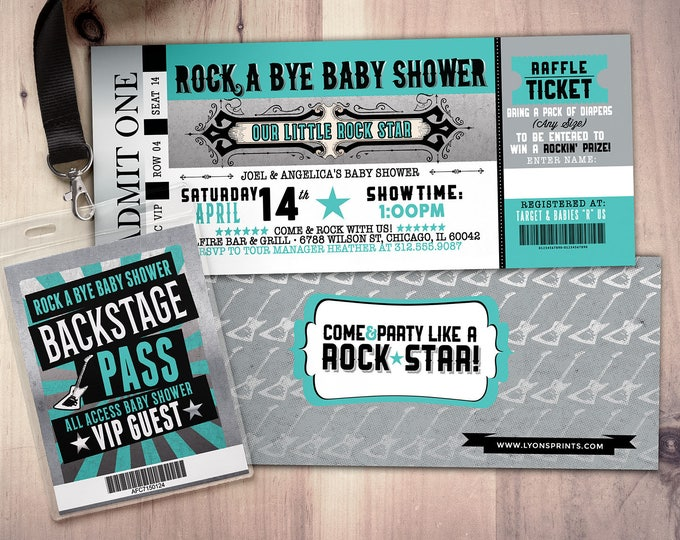 ROCK STAR concert ticket baby shower invitation-Coed baby shower invitation- Rock baby shower invitation- couples baby shower - Digital file