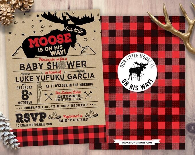 Lumberjack Baby Shower Invitation //  Buffalo Plaid Woodland Baby Shower Invitation // Lumberjack Invite // Rustic Gender Neutral //  Moose