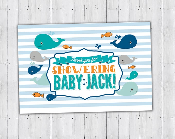 Digital file only, Treat topper, snack topper, nautical, baby whale, whale, baby shower, party favor, stripes, fish, baby boy