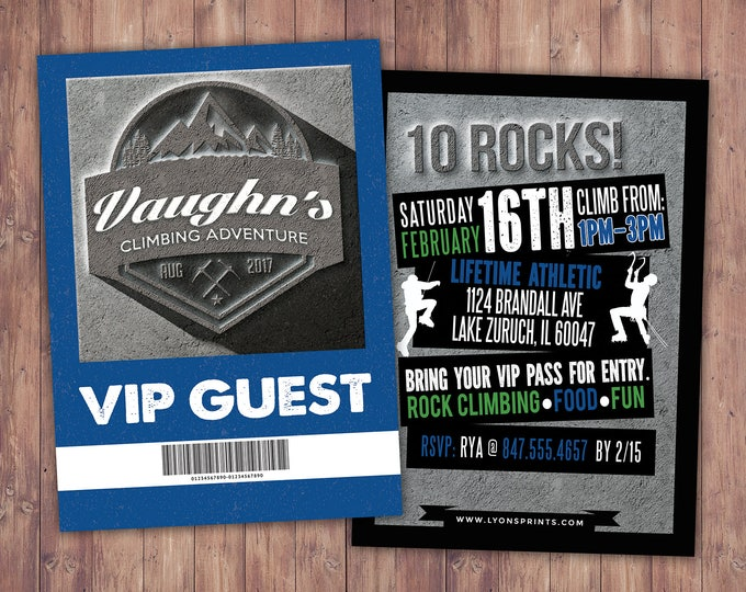 Rock Climbing Invitations, Indoor Climbing, Rock Climbing Birthday, Adventure party, camping, rock climb, 10 ROCKS,