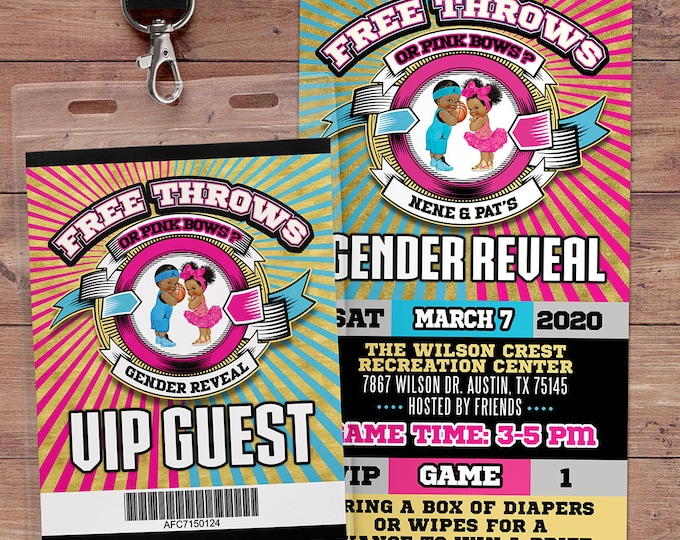 Free Throws or Pink Bows Invitation. PRINTABLE. Basketball or Bows Gender Reveal Invitation. Basketball or Bows baby shower. VIP pass