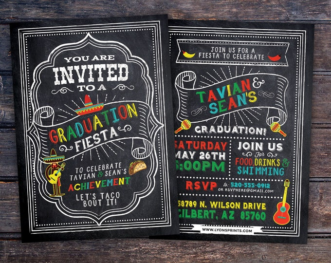 Graduation Party Invitation, Fiesta, Mexican, invite, party, class of 2018, grad, graduate, graduation invitation, tacos, 2019, grad
