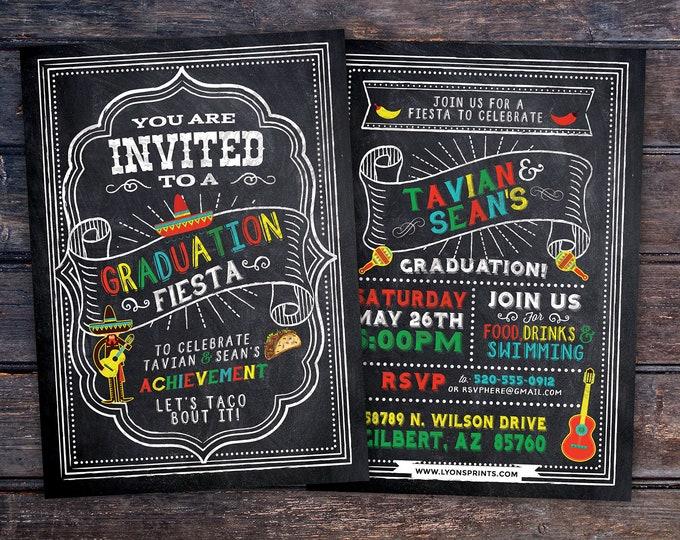 Graduation Party Invitation, Fiesta, Mexican, invite, party, class of 2018, grad, graduate, graduation invitation, tacos, 2019, grad