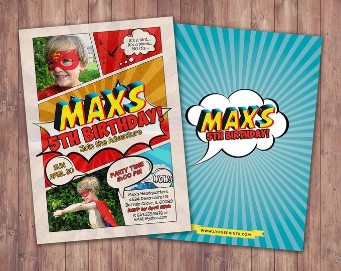 Comic party invitation / boy birthday invitations / sleepover invitation / super hero invitation / comic invitation / twins birthday