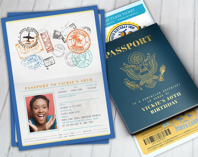 Passport and ticket birthday invitation, cruise invitation, Punta Cana, Dominican Republic, travel theme, Digital files only