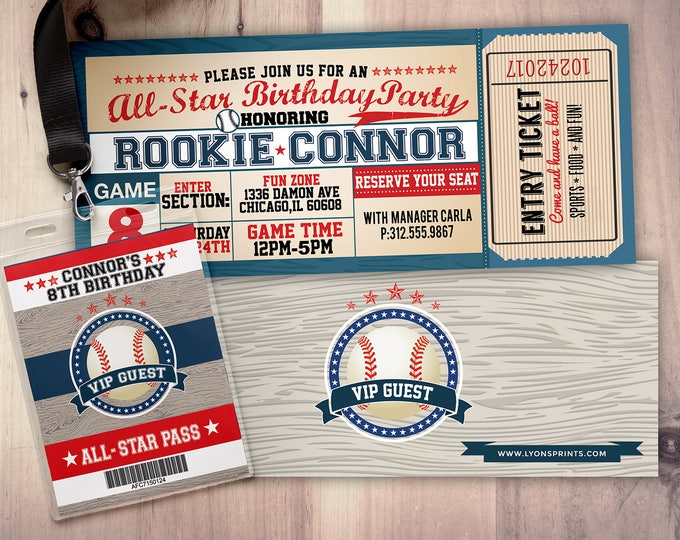 Vintage, baseball, All-Star Invitation //  Little Slugger Birthday // VIP pass  -  sports birthday, home run birthday, Digital files