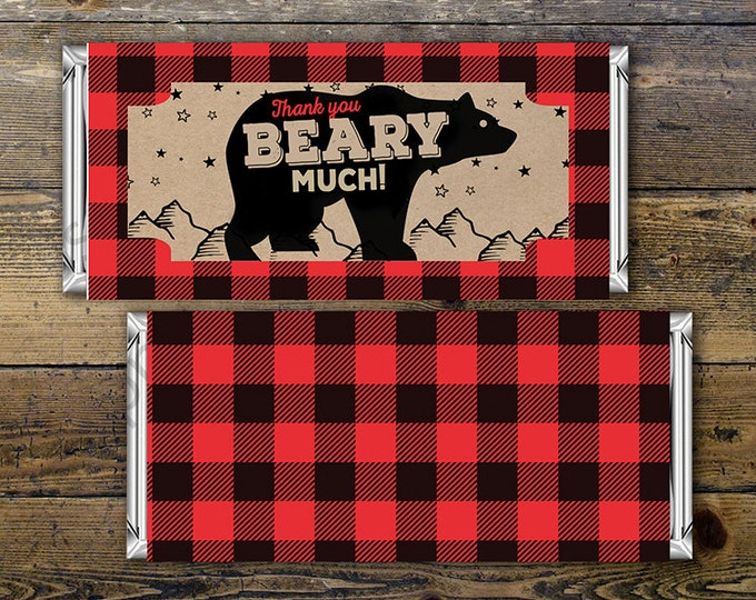 Birthday Candy Bar Wrapper – lumberjack, bear  – Party Favors- shower favor, printable, lumberjack baby shower, woodland, birthday favor