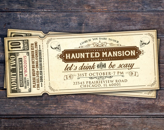Halloween invite, Halloween party, Spooky Halloween invitation, Halloween invites, Spooky invitations, ticket invitation, haunted house
