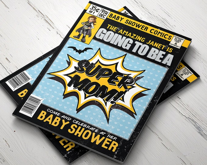 Super Hero Baby Shower Invitations,  Comic Invitation, Hero Invitation, Super Hero Party, Comic Invitation, Invite