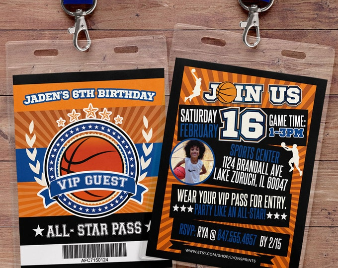 Basketball ticket Invitation // All Star Birthday //  VIP pass, BIRTHDAY invitation, boy birthday, sports birthday, athletic, ticket invite