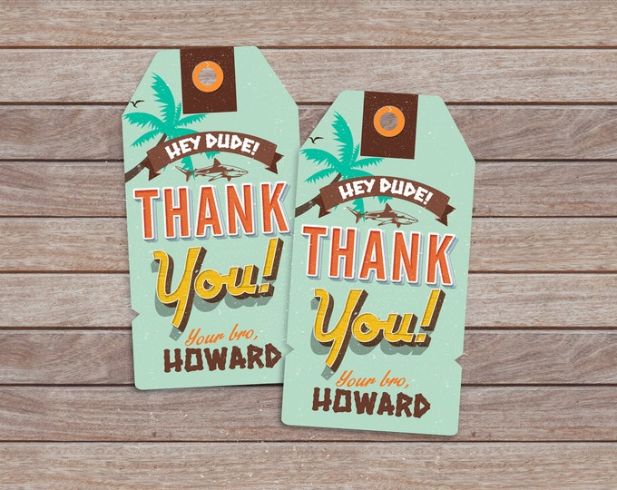Favor tag, Pool Party Invitation, surfer birthday, birthday invitation, invite, vintage surfer, pool party, swimming, surfing, thank you tag