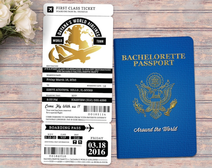 PASSPORT and TICKET bachelorette party, birthday invitation, travel birthday party invitation, customized passport, , travel party