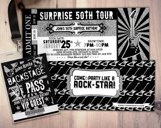 ROCK STAR concert ticket birthday party invitation- Music invitation- printable, rockstar party, pop star, karaoke party, hip hop, invite