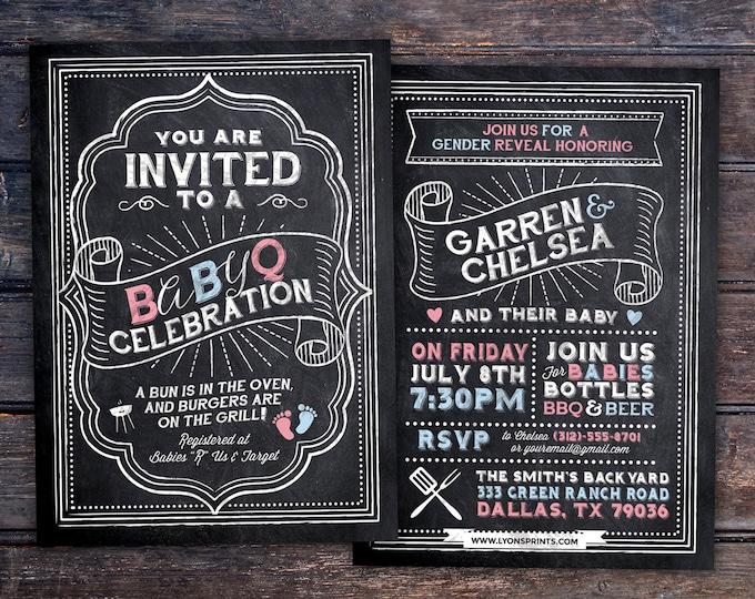 Gender reveal, BabyQ chalkboard couples co-ed Baby Shower BBQ invitation - babyq - boy girl,  baby is brewing, baby boy, baby girl shower