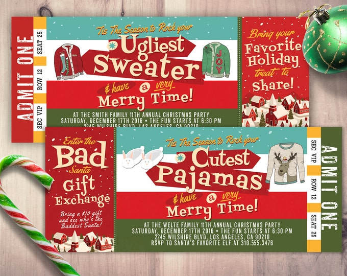 Holiday party invitation - Ugly Sweater Christmas party invitation - holiday party invite- ugly sweater invitation, cookie exchange, pajama