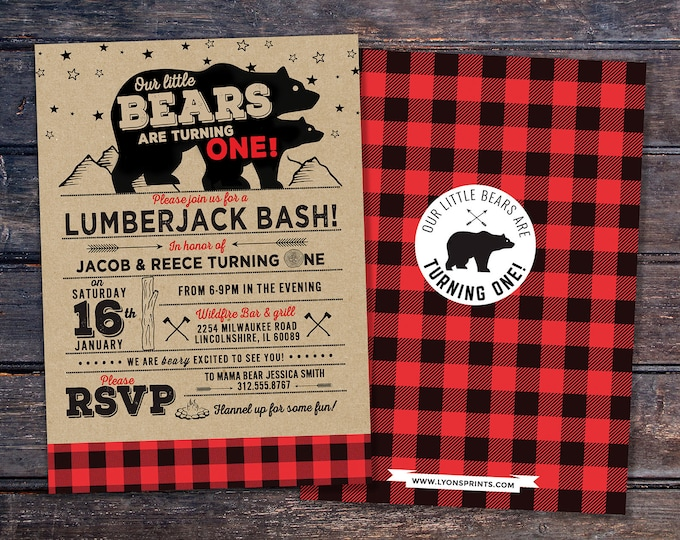 ANY AGE,Lumberjack birthday Invitation // Twins,  Buffalo Plaid Woodland Invitation // Lumberjack Invite // Rustic  //  Bear , camping