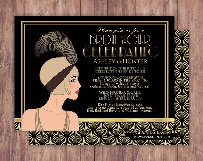 Great Gatsby wedding shower invitation, Hollywood film theme, birthday party invite Black and gold glam printable digital invite, bridal