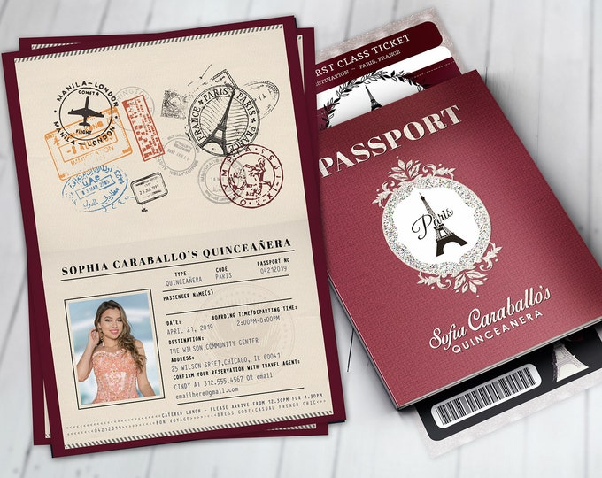 PASSPORT and TICKET invitation, Girl birthday party invitation- travel, Digital files only- Paris, prom, sweet 16, Quinceañera