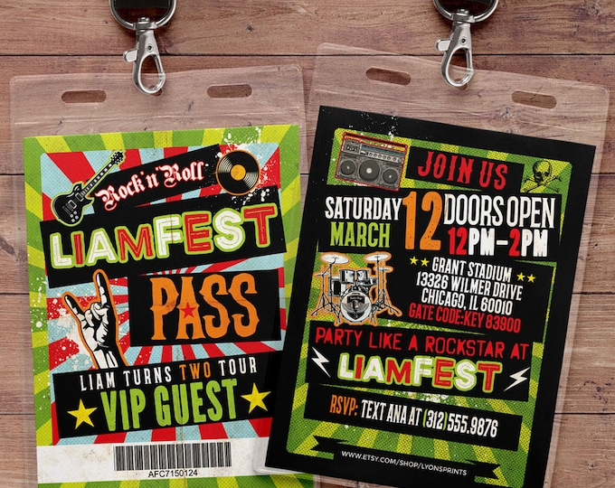 Punk Rock, VIP PASS, backstage pass, Vip invitation, birthday invitation, pop star, rock star birthday, roller-skate party VIP, 80's